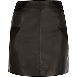 Black patchwork mini skirt
