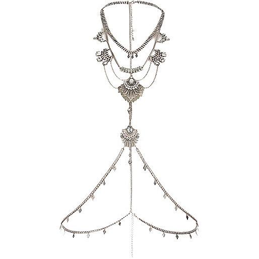Silver tone chain harness