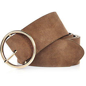 Brown faux suede retro buckle belt