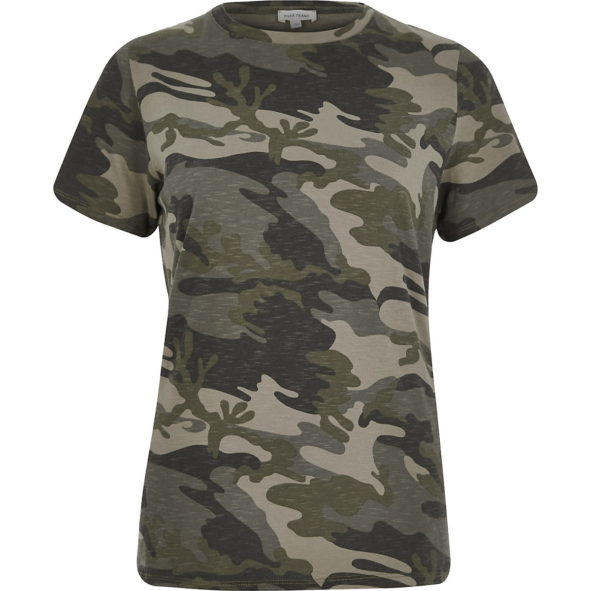 Khaki camo fitted T-shirt