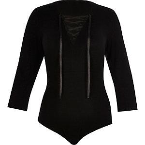 RI Plus black lace-up bodysuit