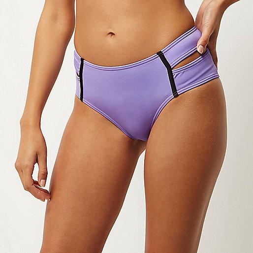 Bas de bikini violet à double lanière