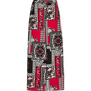 Red print palazzo pants