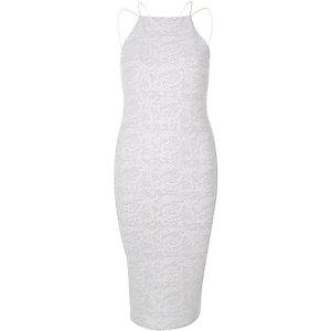 Witte glinsterende cami-jurk