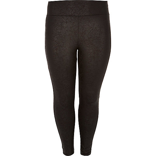 Plus black wet look high rise leggings