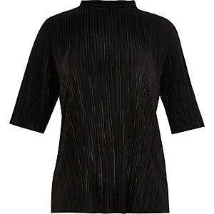 RI Plus black pleated turtleneck top