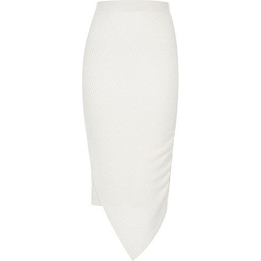 Jupe portefeuille asymétrique crème côtelée