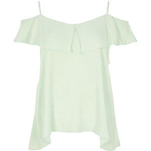 Light green tiered bardot cami top