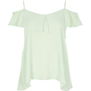 Light green tiered bardot cami top