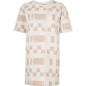 Cream check print longline T-shirt