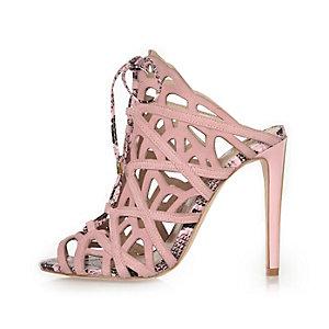 Light pink suede caged tie-up heels