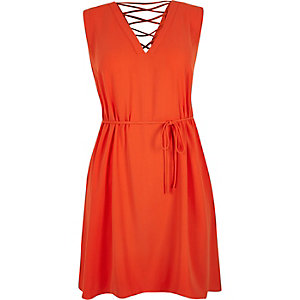 RI Plus orange lace-up back dress