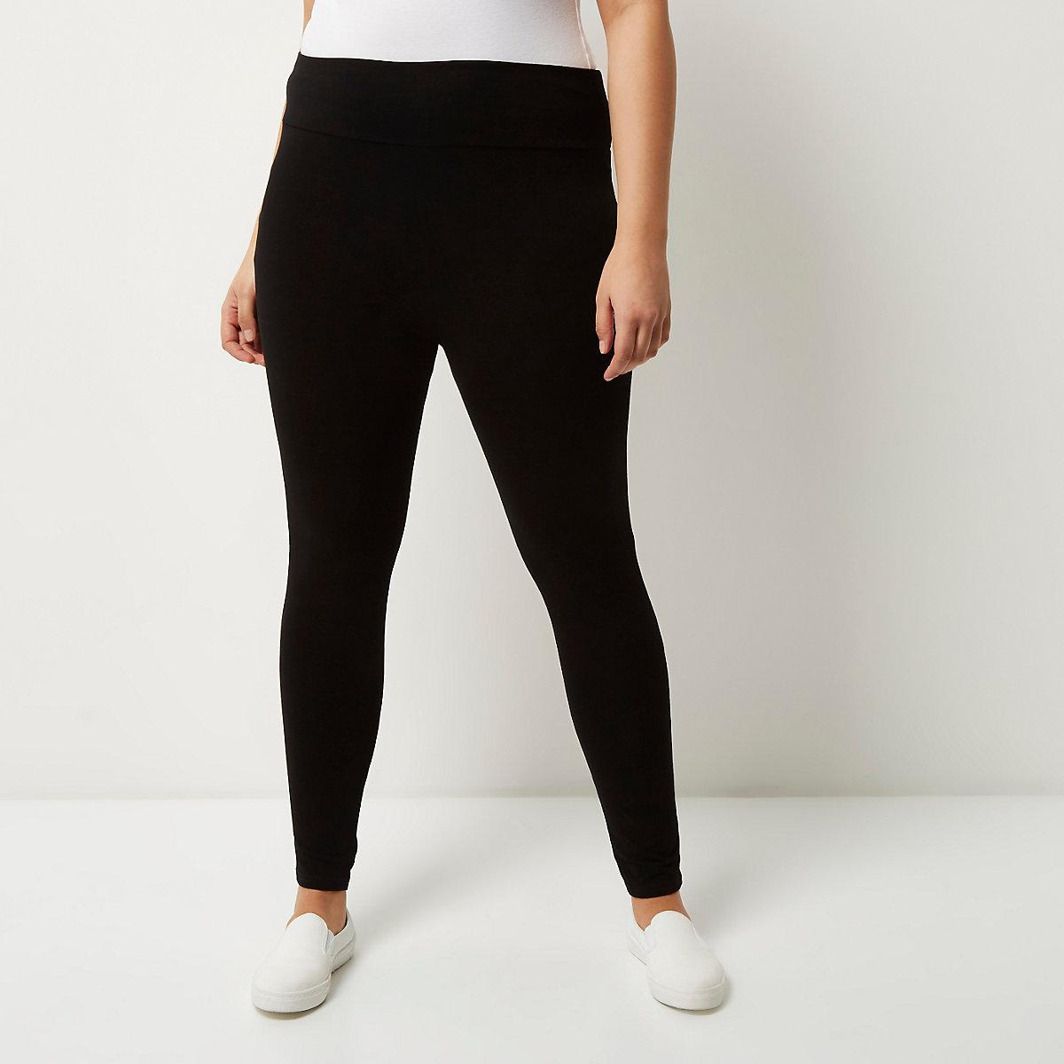 Plus black high rise leggings