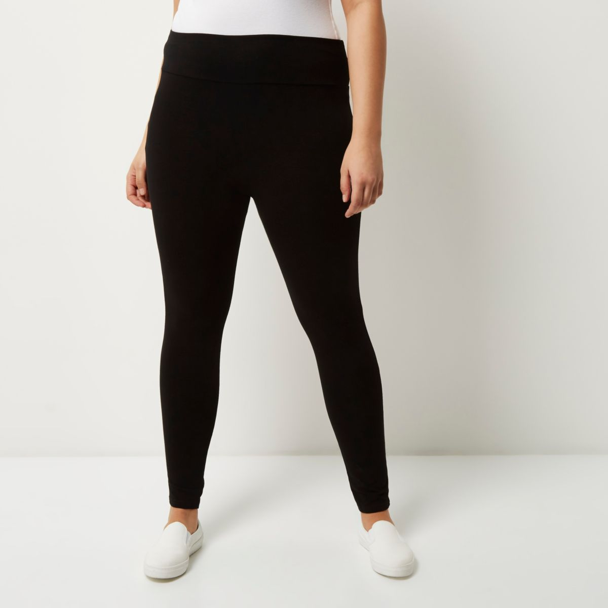 Plus black high rise leggings