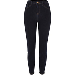 Dark wash high rise frayed Lori skinny jeans
