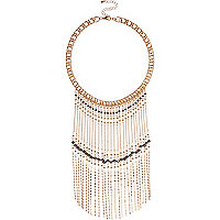 Gold tone beaded fringe necklace