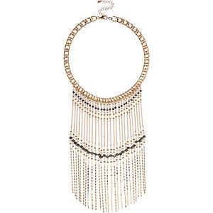 Gold tone beaded fringe necklace