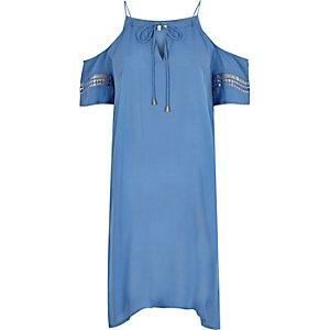 Blue cold shoulder swing dress