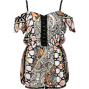 Light orange print bardot playsuit