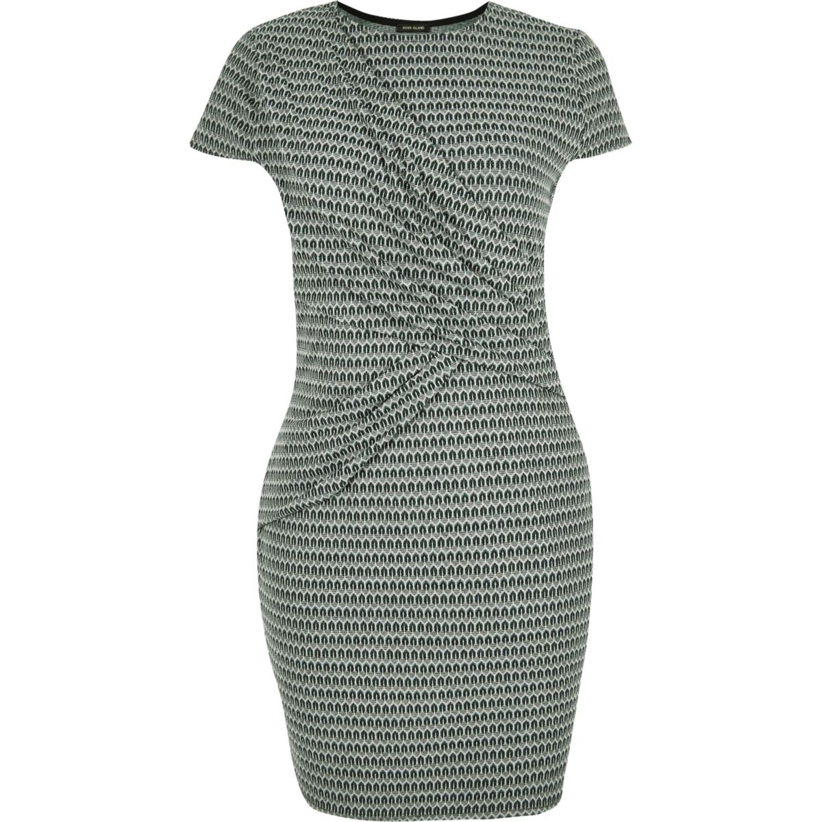 RI Plus green ruched bodycon dress