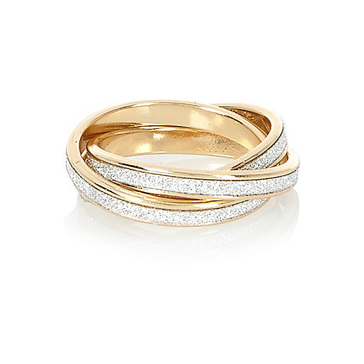 Gold tone glittery ring