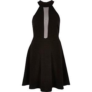 Skater-Kleid aus schwarzem Netzstoff