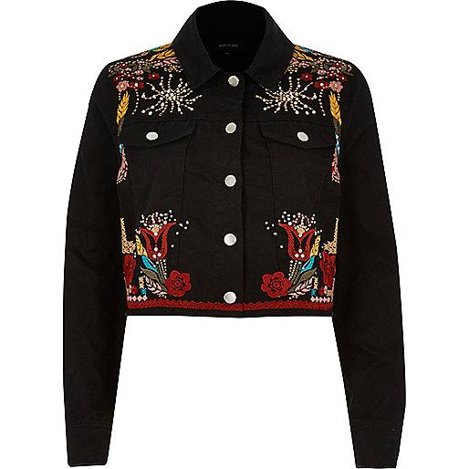 Black embellished festival cropped jacket