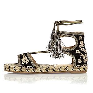 Black embroidered espadrille sandals