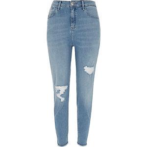 Mid blue wash high rise Lori skinny jeans