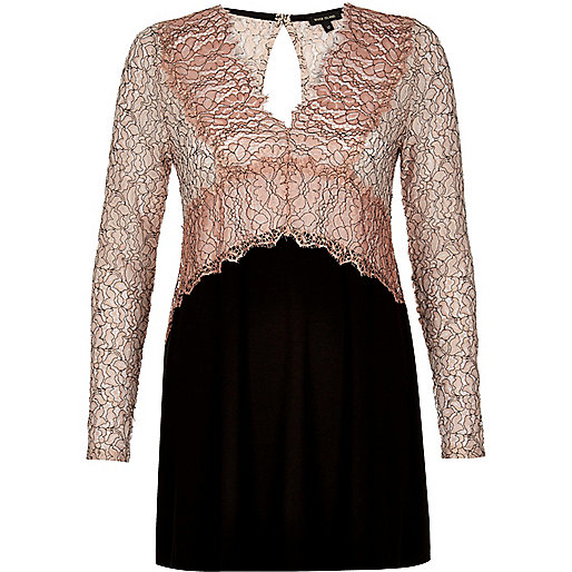 Pink lace V-neck tunic