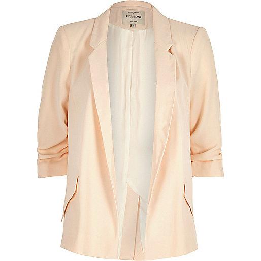 Light orange ruched sleeve blazer