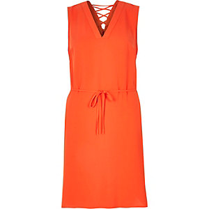Orange lace-up swing dress