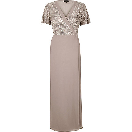 Lilac embellished wrap maxi dress