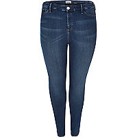 Plus dark blue high rise going out jeggings