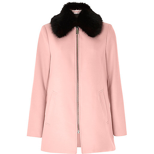 Light pink faux fur collar swing coat