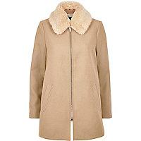 Beige faux fur swing coat