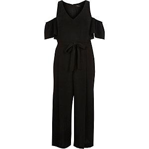Black cold shoulder culotte jumpsuit