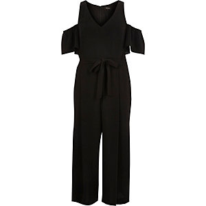 Black cold shoulder culotte jumpsuit