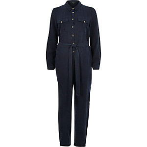 Navy long sleeve tapered jumpsuit
