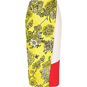 Yellow print midi wrap skirt