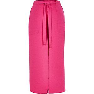 Hot pink utility midi skirt