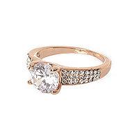 Cubic zirconia rose gold tone diamante ring