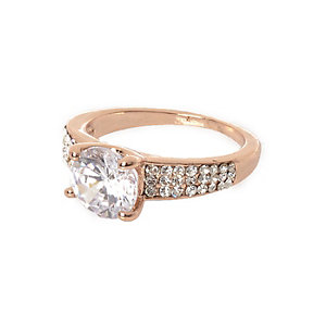 Cubic zirconia rose gold tone diamante ring