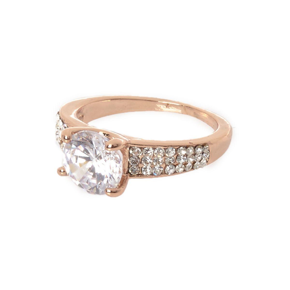 Cubic zirconia rose gold tone rhinestone ring