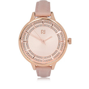 Light pink diamanté thin strap watch