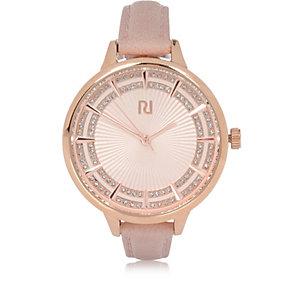 Montre à bracelet fin rose clair avec strass