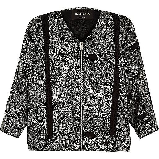 RI Plus black paisley soft bomber jacket