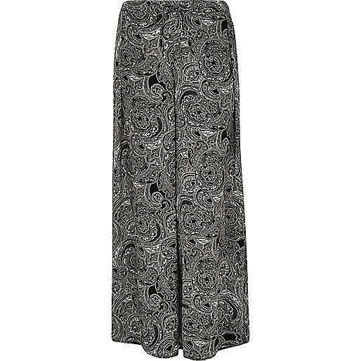 Pantalon palazzo RI Plus imprimé noir