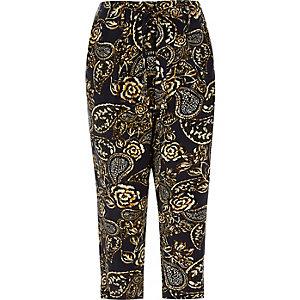 RI Plus khaki floral print tapered trousers