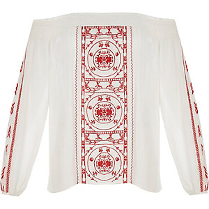 RI Plus red embroidered festival bardot top